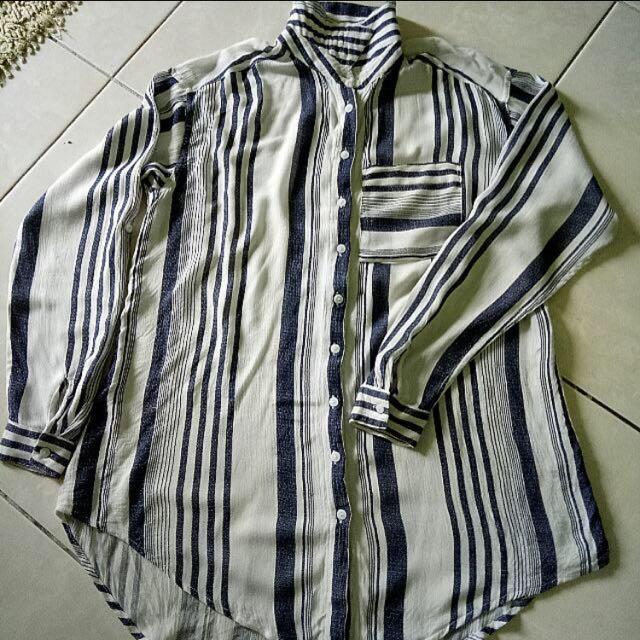 Miss Selfridge Oversized Stripes Shirt