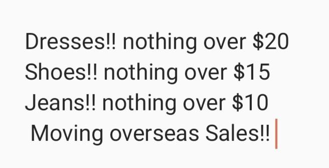 MOVING OVERSEAS SALE!!!