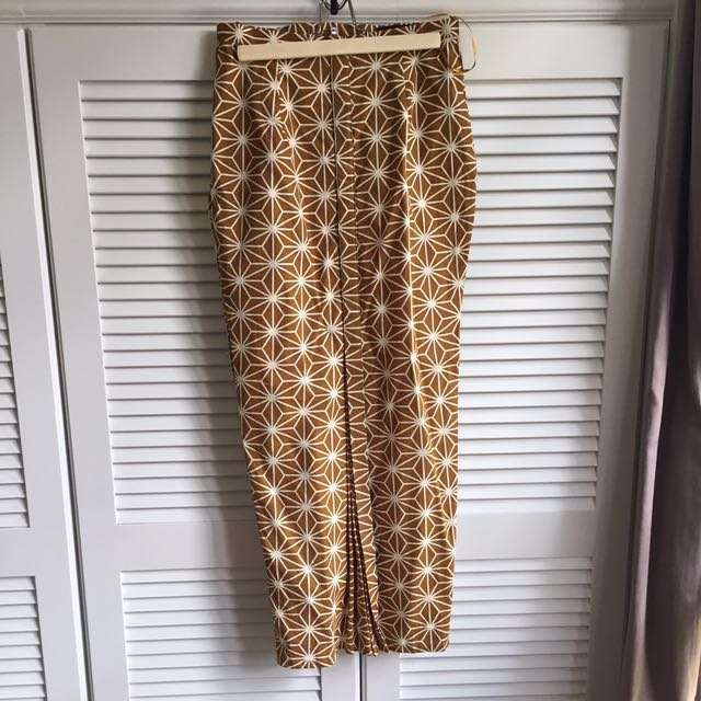 My Apparel Zoo Japanese Printed Long Skirt in Mustard