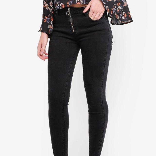 NEW! O Zipper skinny jeans / seleting