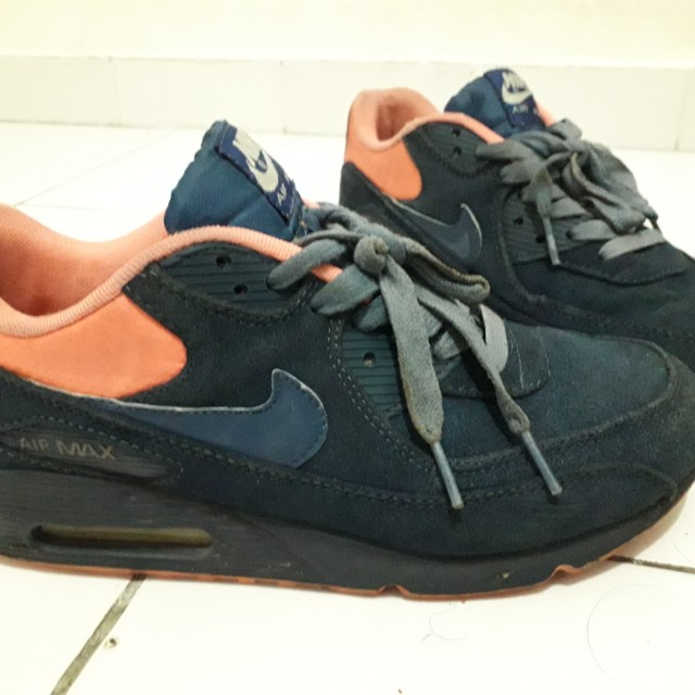Nike Air Max 90 Premium Night Factor Mens Trainers Navy Blue Coral Pink