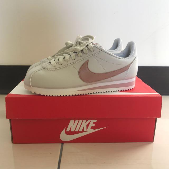 Nike Cortez Leather 阿甘 玫瑰金 女36