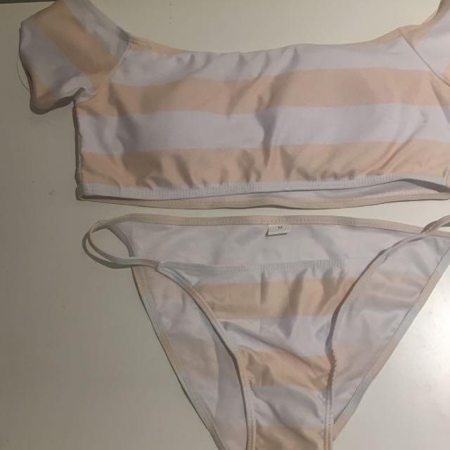 Off Shoulder Pink And White Striped Bikini Set