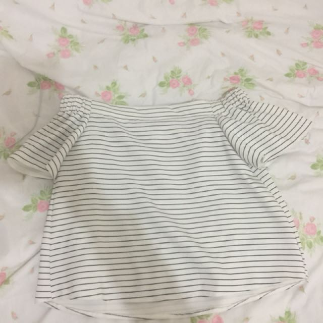Off the Shoulder Black and White Striped Too