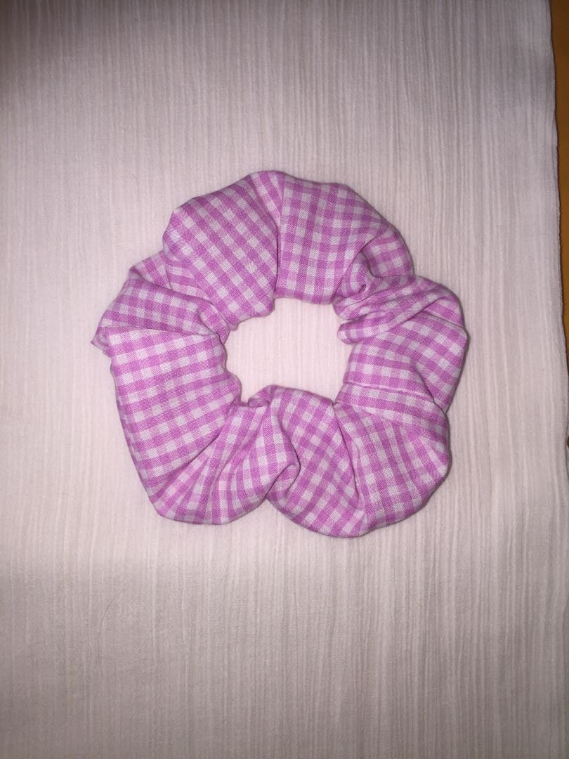 Pink and White Small Gingham Scrunchie