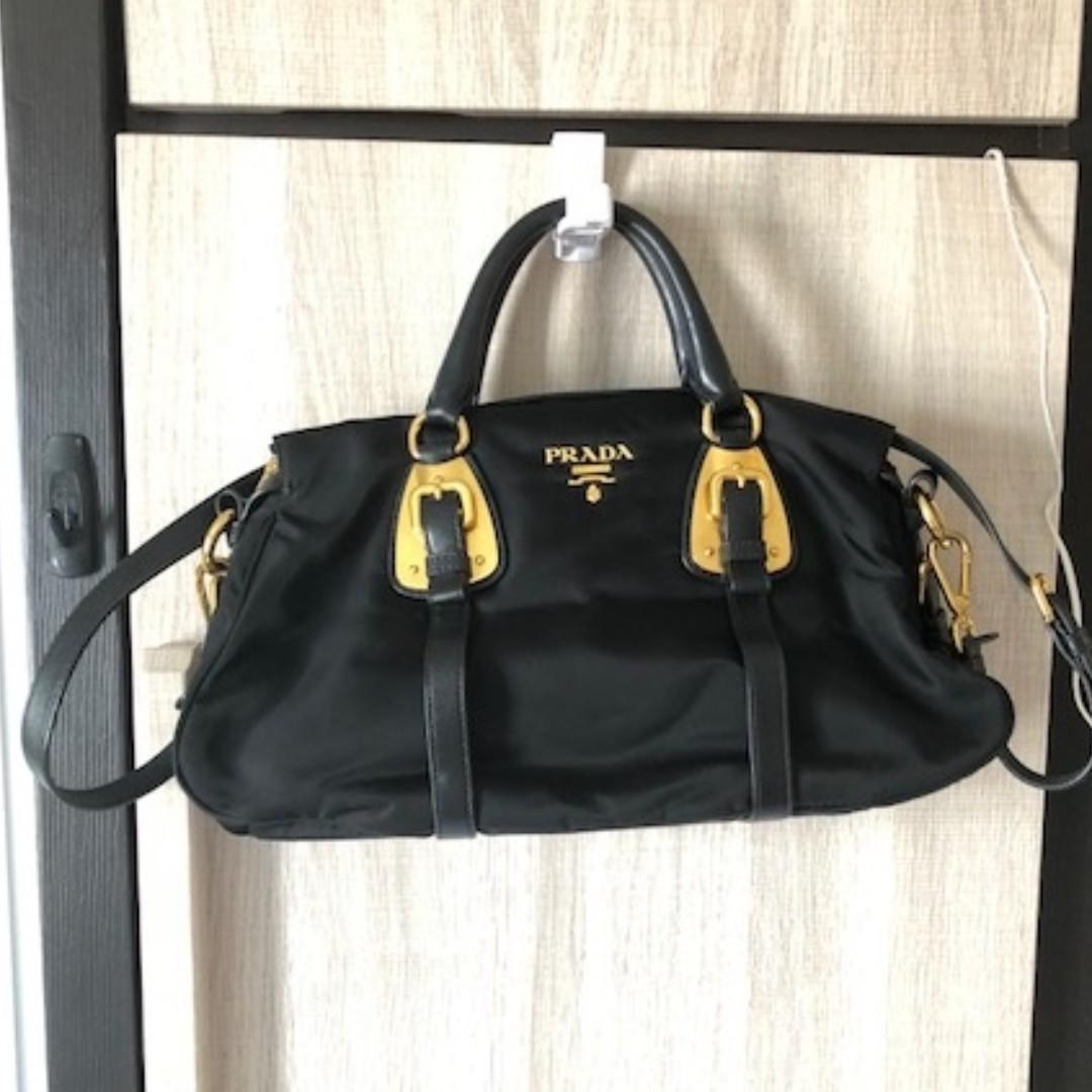 1eff68538b68 PRADA Nylon Tessuto Soft Calf Satchel BN1903 Black, Women's Fashion, Bags &  Wallets on Carousell