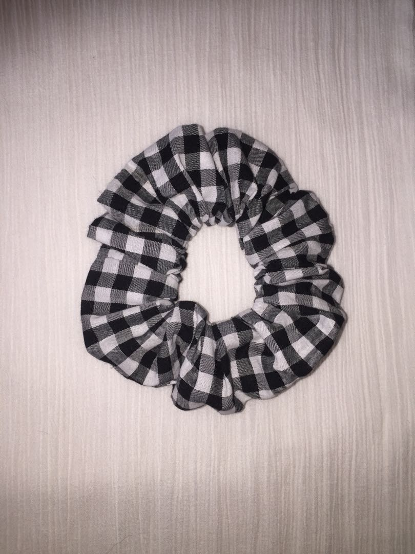 Premium Black and White Gingham Scrunchie