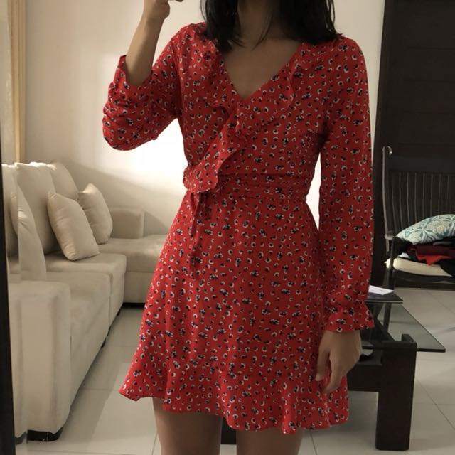Red Printed Mini Wrap Dress Sz S-M