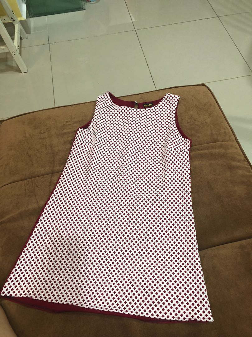 Red small checkers dress
