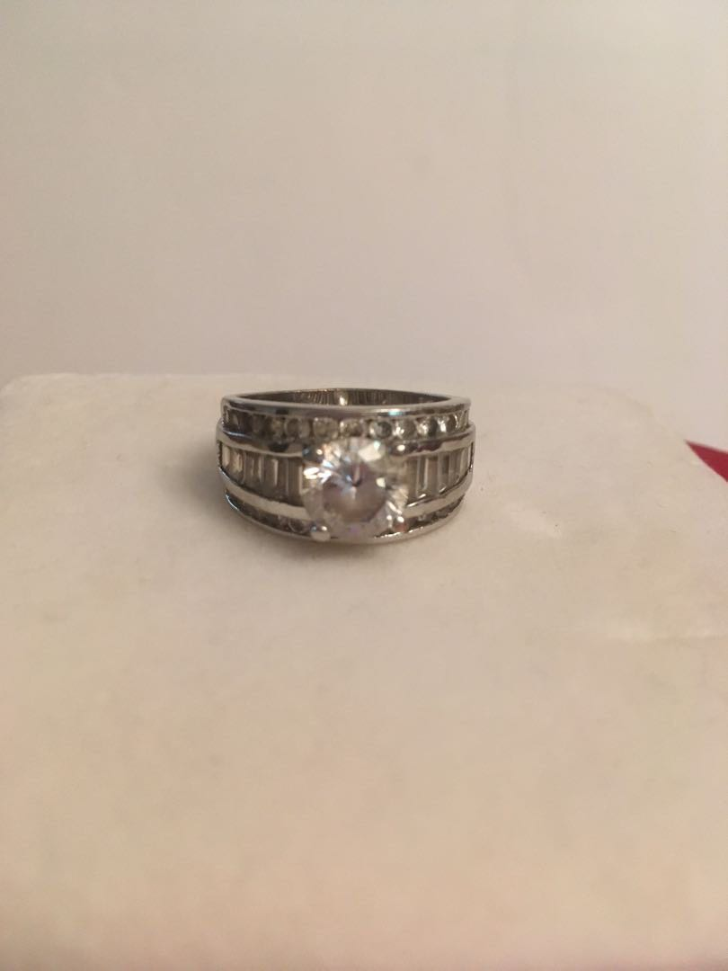 Rhodium plated ring with Russian diamonds