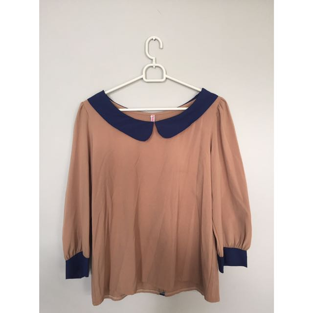 SALE 50% - Navy Brown Bow Top