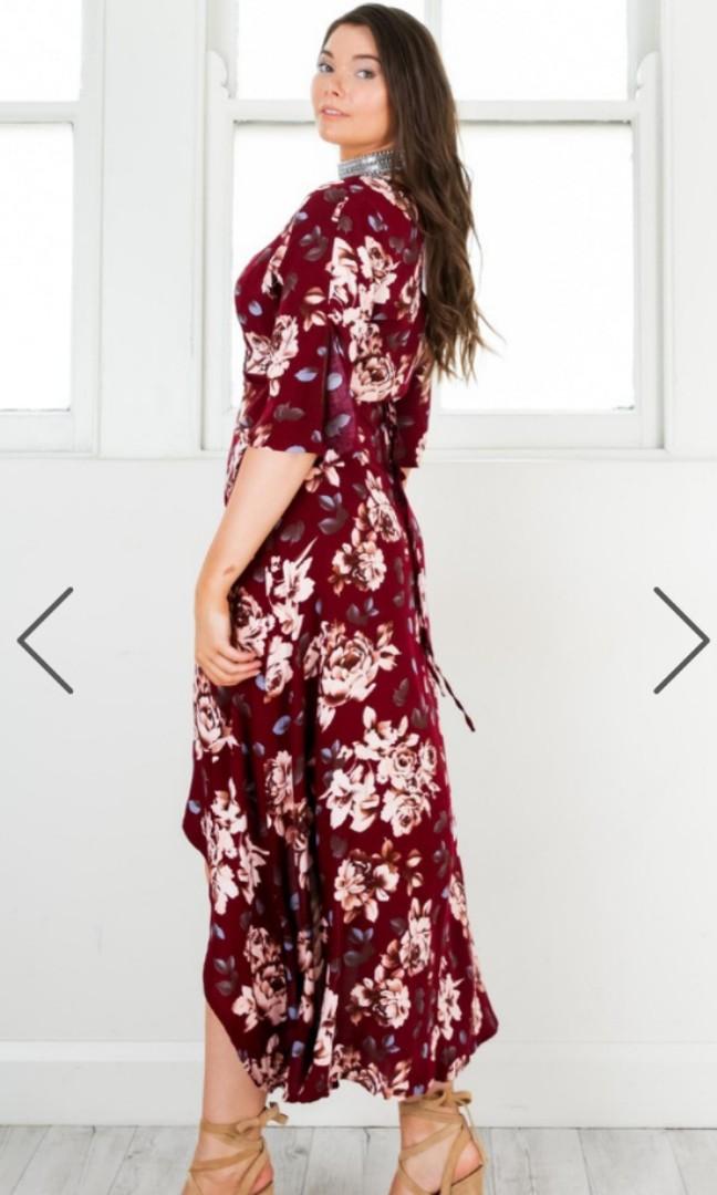 Showpo wine floral wrap dress