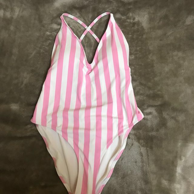 Striped crossback one-piece swimsuit