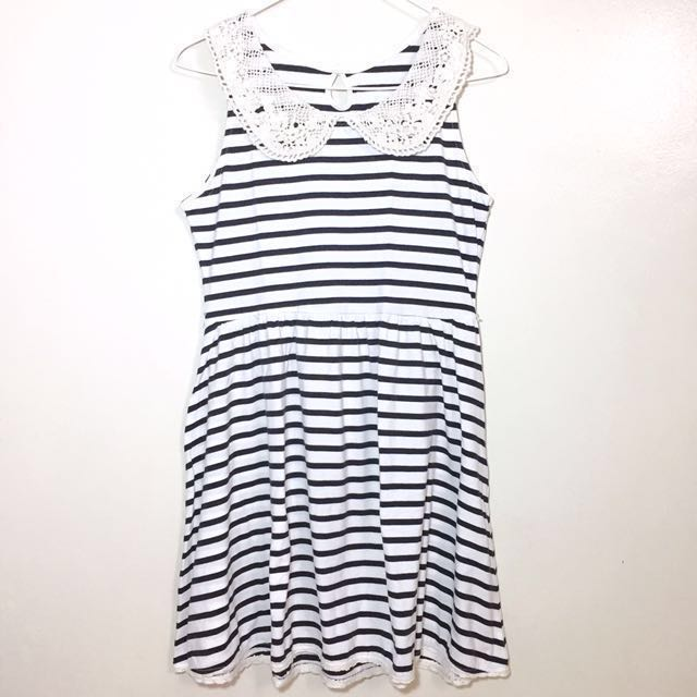 Striped Dress With Lace Collar