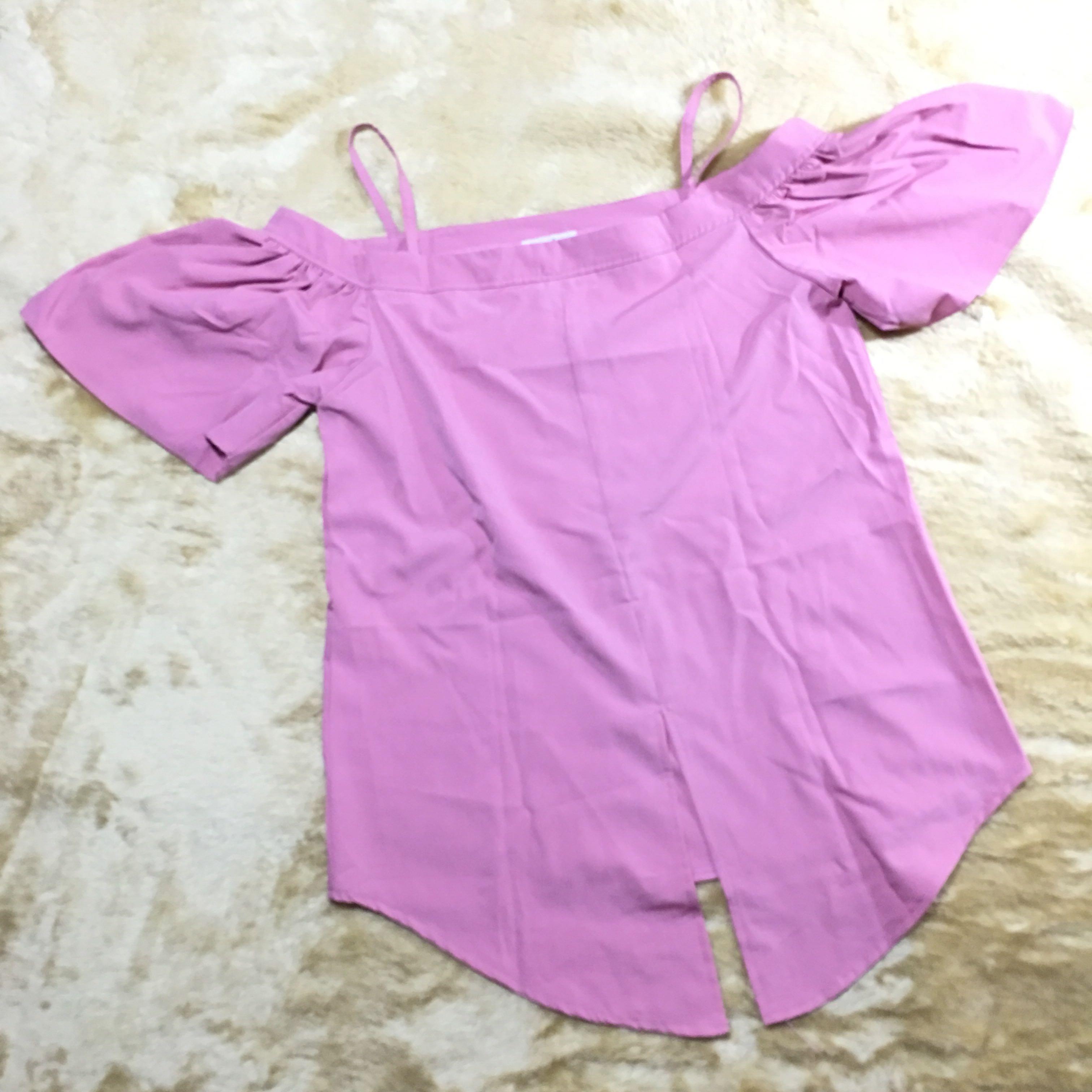 top - pink strap sabrina