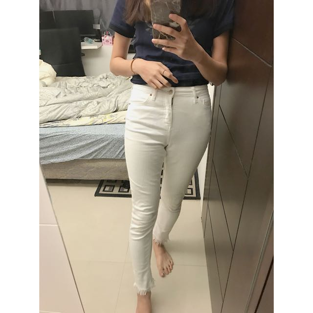 Topshop 白色長褲 彈性好 少穿26w