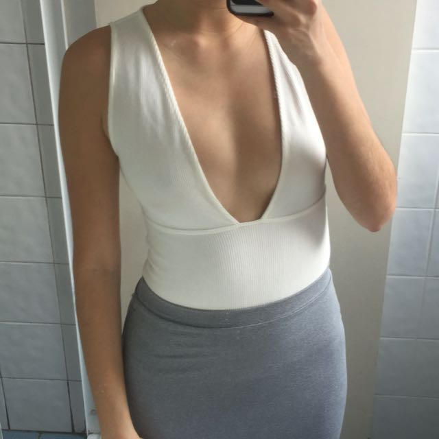 Topshop Bodysuit S/8 Ribbed White