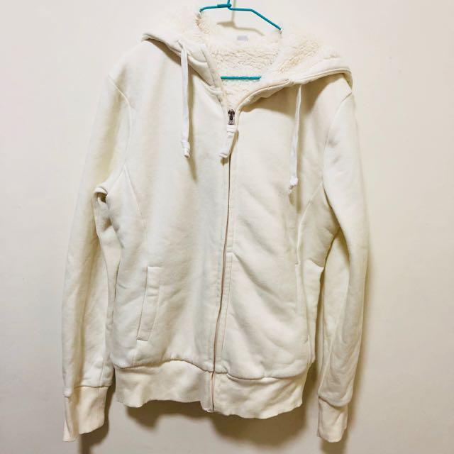 Uniqlo 白色 毛絨 運動外套