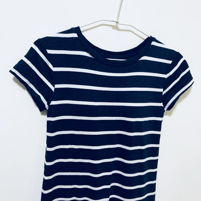 Uniqlo bra t 長版洋裝 條紋 藍