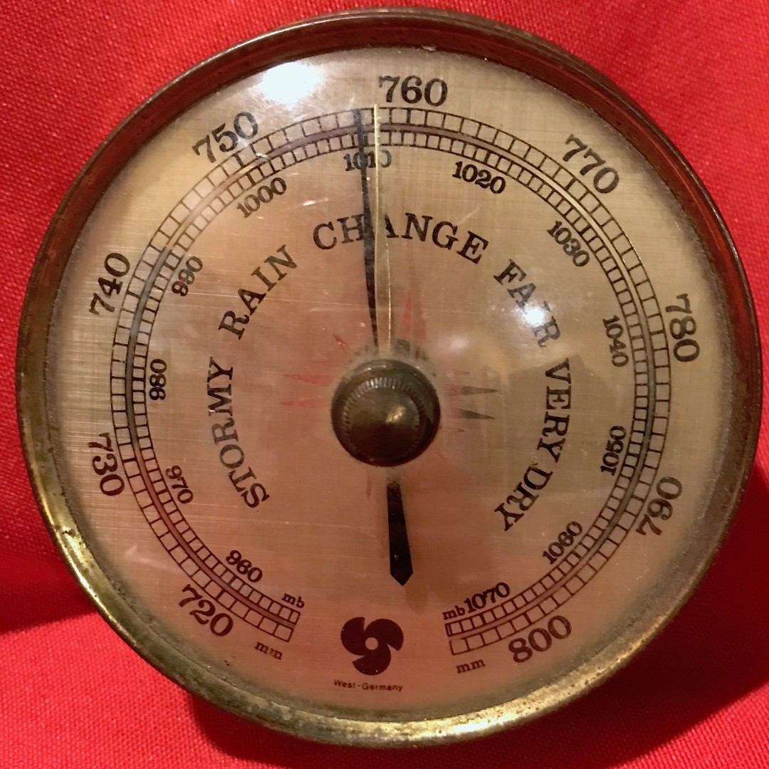Vintage (1970s) Brass Aneroid Barometer made in West Germany