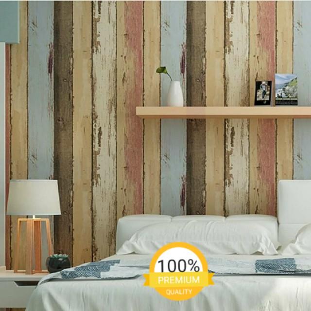 grosir murah wallpaper sticker dinding kayu vintage pink cream biru