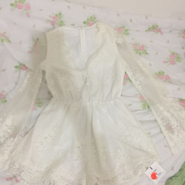 White Lace Embroidered Playsuit