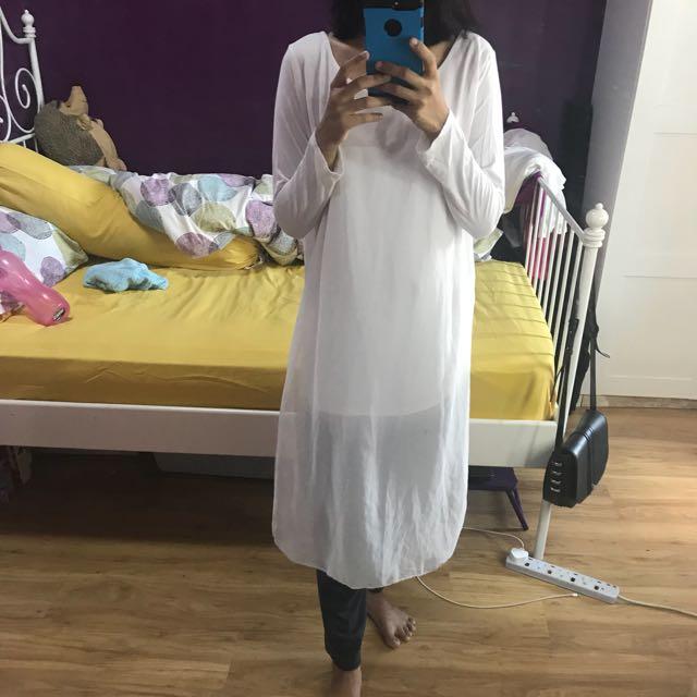 White punjabi long top