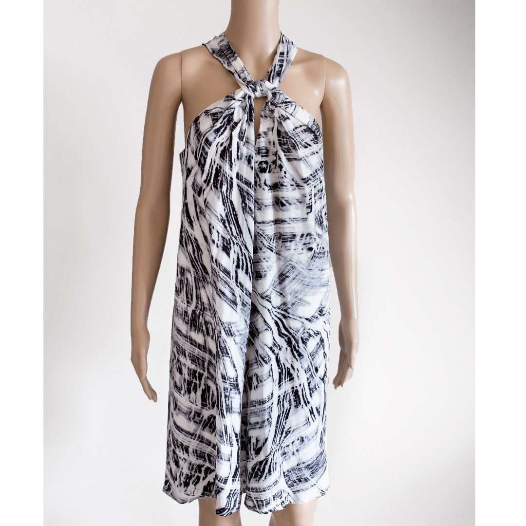 WITCHERY grey/white print knot summer knee-length dress sz10