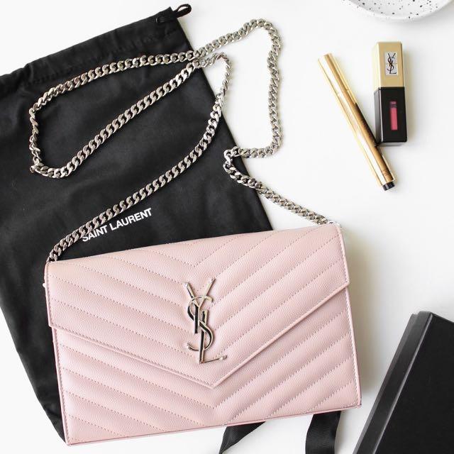 5decbdd2ffae4 Ysl Monogram Chain Wallet In Pale Pink Grain De Poudre Textured. Yves Saint  Lau Pale Pink Chevron ...
