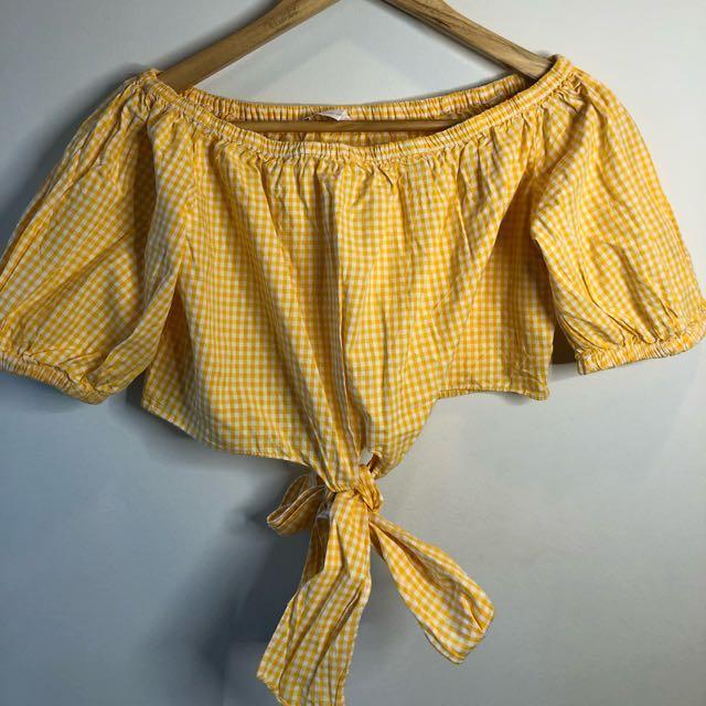 Zara Off shoulder Super Crop Top — Yellow (Checkered)