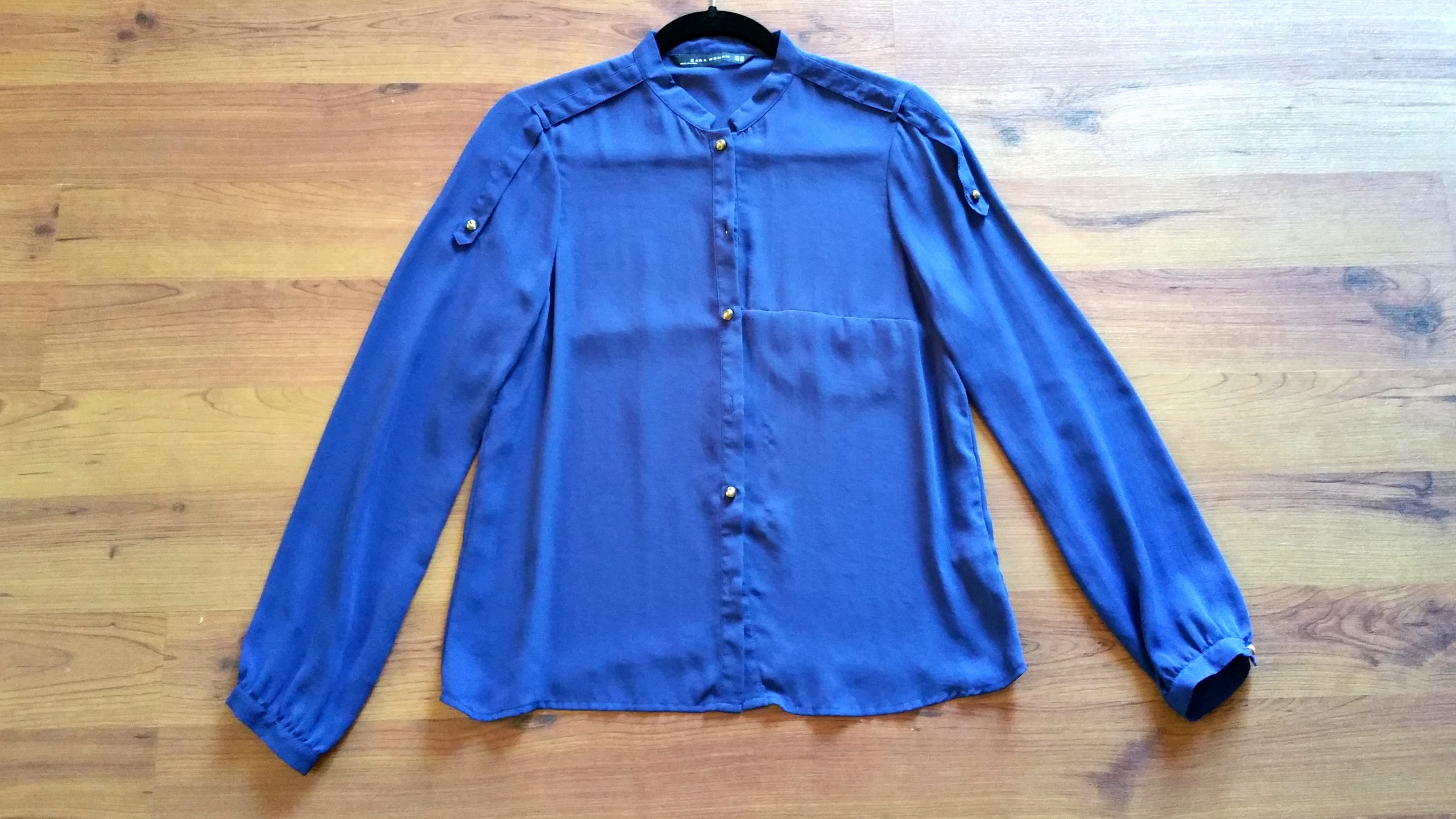 64b5c1cea72d83 Zara woman cos bonito HM blue silk blouse shirt XS