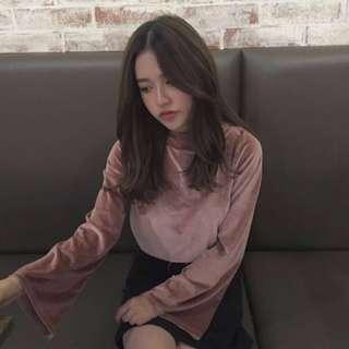 pink velvet long sleeve top