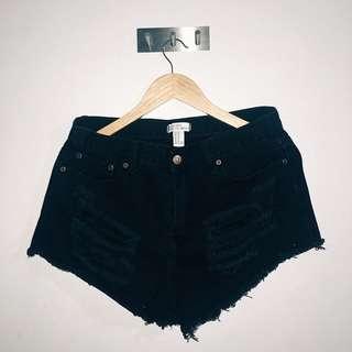 Mini Black Ripped Shorts