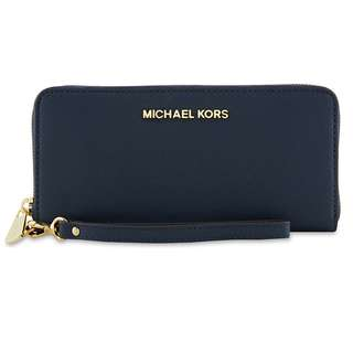 [全新保証正品] Michael Kors MK Jet Set Travel Saffiano Leather Continental zip-around Wallet Purse Large Wristlet #Navy Blue 皇牌長款拉鍊真皮錢夾 可放電話 長銀包 錢包 手袋 名牌 女裝 女朋友生日禮物