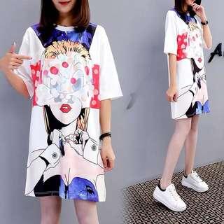 (M~2XL) Europe Station Fashion pattern print fashion loose bottom short sleeve