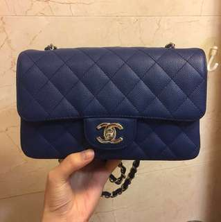 Chanel mini 20 cm flap blue 荔枝 牛皮