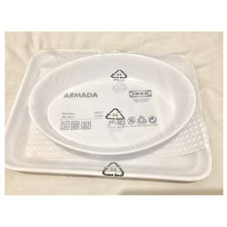 IKEA Armada White Stoneware Baking Dished Casseroles
