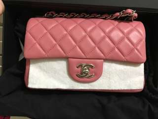 95%new Chanel classic mini 20cm pink lamb skin not calf