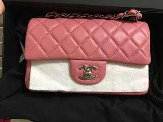 95%new Chanel classic mini 20cm pink lamb skin not calf