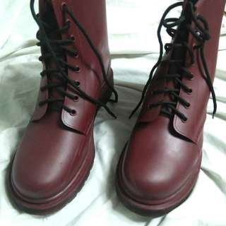 Dr. Martens Inspired Maroon High Cut Boots
