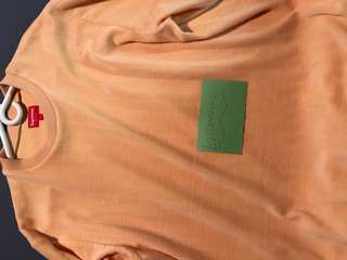 supreme peach velour crewneck sweater
