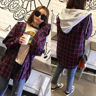(XL~5XL) 2018 Spring Korean version of the lattice casual hooded fake two shirts