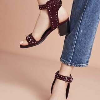 Sol Sana Suede summer sandal heels burgundy