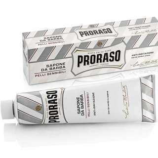 (Free mail)  Proraso White Shaving Cream in a Tube 150ml - For Sensitive Skin (Green Tea & Oat) - Shaver Shave