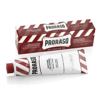 (Free mail) Proraso Red Shaving Cream in a Tube 150ml - Sandalwood & Shea Butter - Shaving Shave