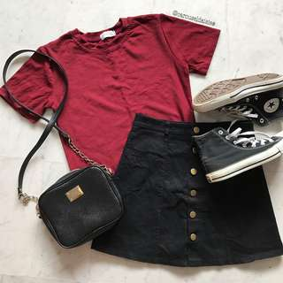 Korean Ulzzang Maroon Red T-Shirt