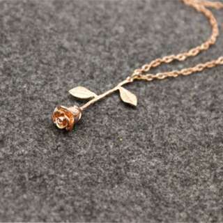 Rose gold Korean necklace- beauty and the beast
