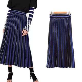 European ladies elastic waist light striped knit skirt female skirt long skirt