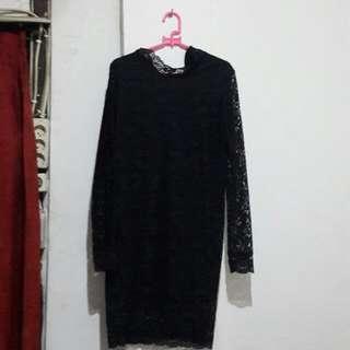 Black mini dress full lengan