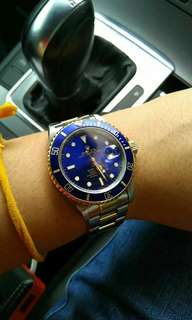 Rolex submarine 16613 Blue half gold